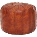Wohnling Sitzhocker Echtleder Braun 52 x 40 x 52 cm Ottomane Wohnzimmer | Design Pouf Hocker Orientalisch | Polsterhocker Orient Beinablage Sofa