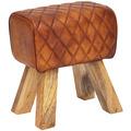 Wohnling Sitzhocker Echtleder / Massivholz 40x48x27 cm Modern Fußhocker | Turnbock Lederhocker Braun | Kleiner Hocker Gepolstert | Holzhocker mit Leder-Bezug