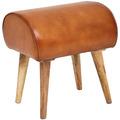 Wohnling Sitzhocker 45x53x40 cm Echtleder / Massivholz, Moderner Lederhocker, gepolstert
