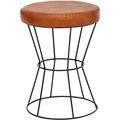 Wohnling Sitzhocker Echtleder / Metall 35 x 48 x 35 cm Design Hocker Rund | Dekohocker mit Leder-Bezug | Moderner Lederhocker Braun Gepolstert