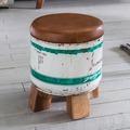 Wohnling Sitzhocker INDRA 28x34,5x28cm Metall / Leder / Holz Ottomane Braun / Weiß, Design Hocker klein, Polster Fußhocker Shabby, Vintage Dekohocker rund, Polsterhocker Flur, Mini Fußablage weiß