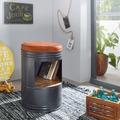 Wohnling Sitzhocker RANA mit Stauraum 40x60x40cm Grau Sitztonne Retro, Design Polsterhocker Metallhocker Hoch, Hocker Rund Metall / Holz / Leder, Runder Dekohocker braun