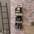 Wohnling Wandregal WL5.923 Schwarz 41 x 115 x 7 cm Stoff und Eisen Hängeregal