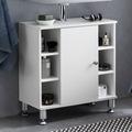 Wohnling Waschbeckenunterschrank 60 x 64 x 32 cm Weiß Badschrank mit Tür, Holz Unterschrank Waschbecken Badezimmer, Waschtischunterschrank mit Fächern, Badezimmerschrank Bad-Möbel mit Ablage weiß