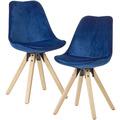 Wohnling Weiches Esszimmerstuhl 2er Set ohne Armlehnen in Dunkelblau, Stoff Küchenstühle Modern mit Holzbeinen, Schalenstuhl Gepolstert 110 kg blau
