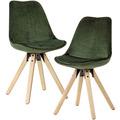 Wohnling Weiches Esszimmerstuhl 2er Set ohne Armlehnen in Grün, Stoff Küchenstühle Modern mit Holzbeinen, Schalenstuhl Gepolstert 110 kg grün