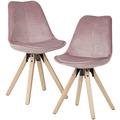 Wohnling Weiches Esszimmerstuhl 2er Set ohne Armlehnen in Rosa, Stoff Küchenstühle Modern mit Holzbeinen, Schalenstuhl Gepolstert 110 kg rosa