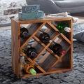 Wohnling Weinregal KANOI Sheesham Massivholz 40x40x25 cm Holzregal 8 Flaschen, Kleines Flaschenregal Standregal schmal, Design Getränkehalter Holz, Weinflaschenhalter stehend massiv, Regal klein sheesham