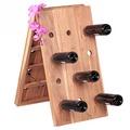 Wohnling Weinregal Massiv-Holz Akazie Flaschenregal für 24 Flaschen Standregal mit Kette zusammenklappbar Holzregal