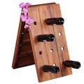 Wohnling Weinregal Massiv-Holz Sheesham Flaschenregal für 24 Flaschen Standregal mit Kette zusammenklappbar Holzregal