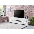 Wohnling WL5.715 Design Lowboard 176,5 x 45 x 40 cm Weiß Hochglanz Holz HiFi Regal, TV Board mit Schublade & LED, Fernsehschrank Kommode Modern, TV Unterschrank Wohnzimmer weiß