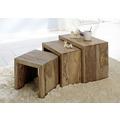 Wolf Möbel Indien 3-Satz Tisch Cube Beistelltisch natur