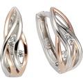 ZEEme Silver Creolen 925/- Sterling Silber rotvergoldet 6x Zirkonia  8747