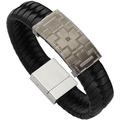 ZEEme Stainless Steel Armband Edelstahl 21cm Leder grau 13037