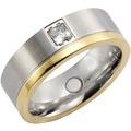 ZEEme Stainless Steel Ring Edelstahl glanz/mattiert Zirkonia grau 13025 54 (17,2)