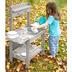Roba Matschküche Midi, Kinder-Outdoor-Gartenküche für Wasser & Sand, wetterfest, Massivholz, grau