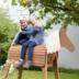 Roba Outdoor- Spielpferd teakfarben, massivholz mit Mähne und Schweif, 156 x 51 x 139 cm