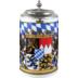 Seltmann Weiden Bierkrug mit Deckel 408 Compact Bayern 27110 blau, gelb, rot/rosa