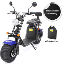 eFlux Chopper Two Elektro Scooter blau mit Straßenzulassung, 1500 Watt 60 Volt + Zusatzbatterie