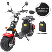 eFlux Harley Two Elektro Scooter rot mit Straßenzulassung, 1500 Watt 60 Volt + Zusatzbatterie