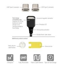 4smarts Magnetisches USB-Kabel GRAVITYCord 2.0 0,5m schwarz + Zwei USB Typ-C Stecker