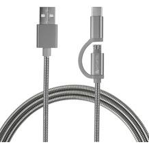 4smarts Micro-USB & USB Typ-C Kabel ComboCord 1m metall - silber