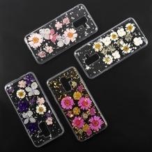 4smarts Soft Cover Glamour Bouquet für Samsung Galaxy A6+ (2018) weiße Blumen/silberne Flocken
