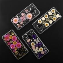 4smarts Soft Cover Glamour Bouquet für Samsung Galaxy A8 (2018) weiße Blumen /silberne Flocken