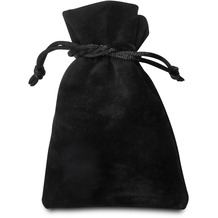Sterngraf Samtbeutel 85x120mm schwarz aus beidseitigem Samt, Geschenkbeutel Schmuckbeutel Samtsäckchen