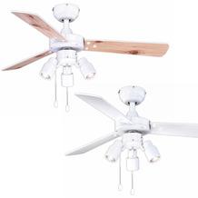 AireRyder Cyrus Deckenventilator Weiß mit Wendeflügeln in Weiß / Kiefer, mit Beleuchtung, Durchmesser 107 cm