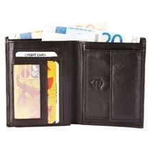 Akzent Herren Geldbörse aus Echtleder dunkelbraun 9 x 12 cm