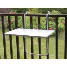 ALCO Balkonhängetisch, Stahlrohruntergestell, kunststoffbeschichtete Platte weiß, L 60 x B 40 cm