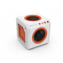 allocacoc audioCube Portable, Bluetooth Akku Lautsprecher im Cube Design, weiß / orange