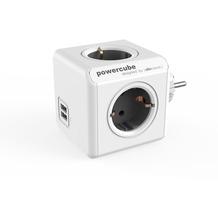allocacoc PowerCube Duo USB Original Grau, Reiseadapter & 4x Steckdose und Verteiler mit 2 x USB, 230V Schuko, Weiß Grau