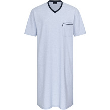 AMMANN Nachthemd kurz, V-Ausschnitt, Tasche, hellblaumelange Gr. 50