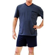 AMMANN Schlafanzug kurz, V-Ausschnitt, Brusttasche, blau 48