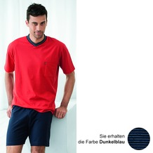 AMMANN Schlafanzug kurz, V-Ausschnitt, Brusttasche, dunkelblau 48