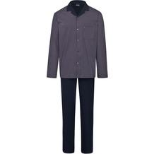 AMMANN Schlafanzug lang, durchgeknöpft, Tasche, nightblue 48