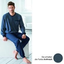 AMMANN Schlafanzug lang, V-Ausschnitt, Brusttasche, anthrazit 48