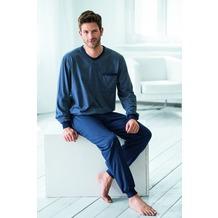 AMMANN Schlafanzug lang, V-Ausschnitt, Brusttasche, blau 48