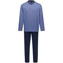 AMMANN Schlafanzug lang, V-Ausschnitt, Brusttasche, dark saphir 48