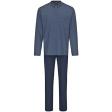 AMMANN Schlafanzug lang, V-Ausschnitt, Brusttasche, dunkelblau 48