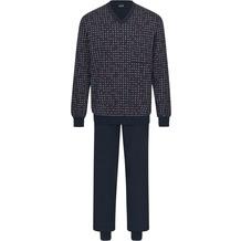 AMMANN Schlafanzug lang, V-Ausschnitt, Brusttasche, nightblue 48