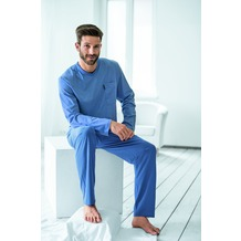 AMMANN Schlafanzug lang, V-Ausschnitt, Brusttasche, polo 48