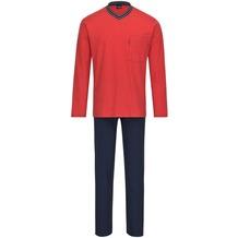 AMMANN Schlafanzug lang, V-Ausschnitt, Brusttasche, rot 48