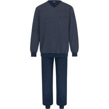 AMMANN Schlafanzug lang, V-Ausschnitt, Tasche, dunkelblau, gemustert Gr. 48