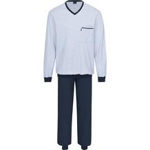 AMMANN Schlafanzug lang, V-Ausschnitt, Tasche, dunkelblau 48