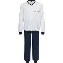 AMMANN Schlafanzug lang, V-Ausschnitt, Tasche, dunkelblau hell 48