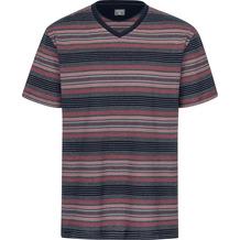 AMMANN Shirt 1/2 Arm, V-Ausschnitt, dunkelblau, rot und grau gestreift Gr. S