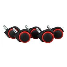 Amstyle 5er Set Hartbodenrollen Rot / Schwarz 11 / 50 mm für harte Böden (hoch abriebfest für helle Böden)
